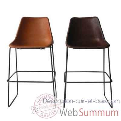 chaise haute en cuir solxluna style giron pour bar de sol luna dans chaises cuir bois. Black Bedroom Furniture Sets. Home Design Ideas