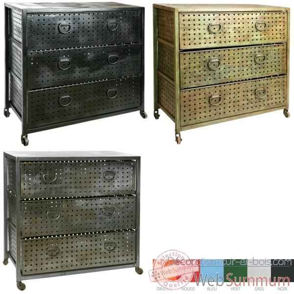 commode m tal 3 tiroirs acier brut hindigo jc79bru de d coration m tal. Black Bedroom Furniture Sets. Home Design Ideas