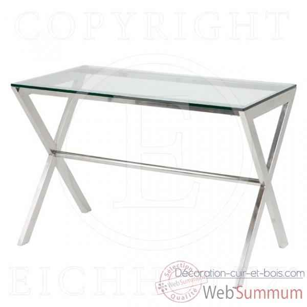 eichholtz bureau criss cross acier inoxydable avec verre. Black Bedroom Furniture Sets. Home Design Ideas