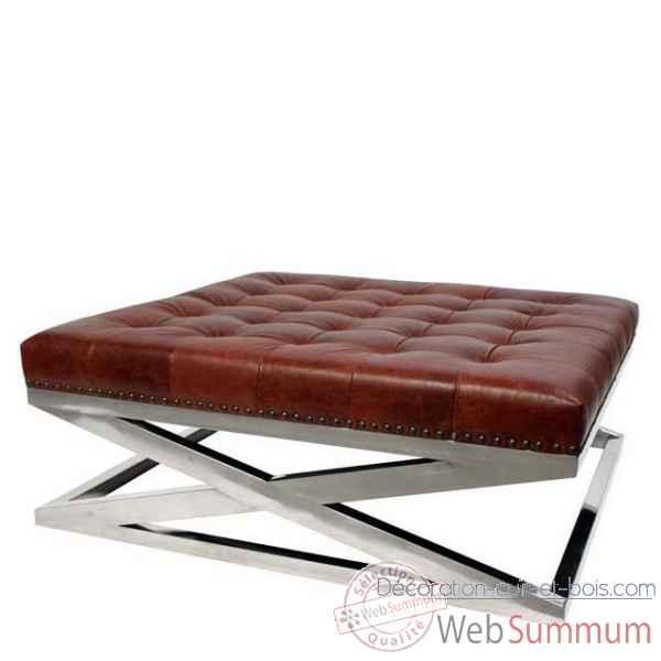 eichholtz table basse cooper nickel et cuir marron de decoration acier cuir bois. Black Bedroom Furniture Sets. Home Design Ideas