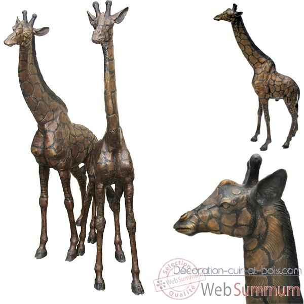 girafe en bronze brz1159 dans animaux sauvages sur d coration cuir et bois. Black Bedroom Furniture Sets. Home Design Ideas