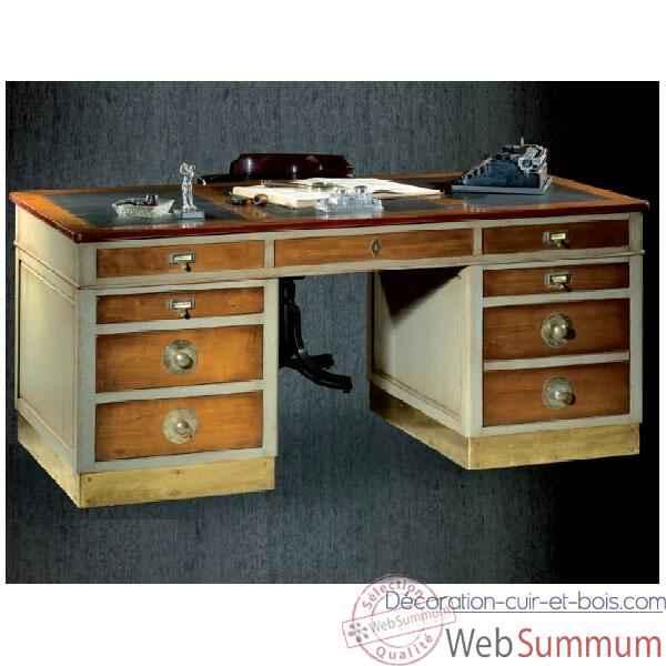 bureau amiral dessus cuir poque 19 me avec caisson pour dossier suspendus et un petit tiroir. Black Bedroom Furniture Sets. Home Design Ideas