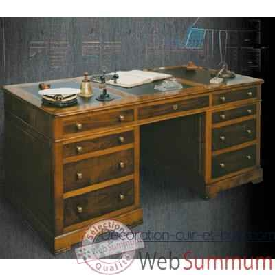 bureau amiral dessus cuir poque 19 me avec caisson 3. Black Bedroom Furniture Sets. Home Design Ideas