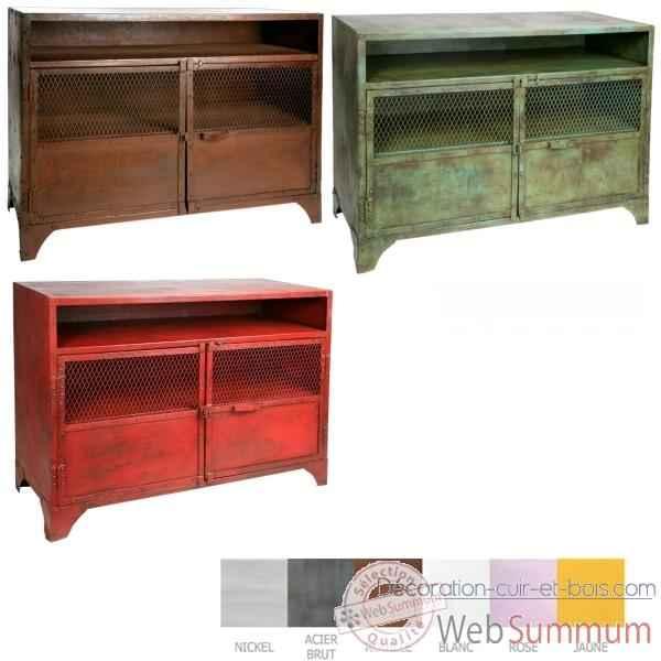 meuble tv m tal acier bross hindigo jc67bru de d coration m tal. Black Bedroom Furniture Sets. Home Design Ideas