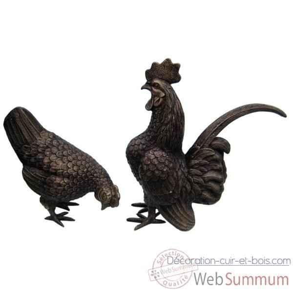 Poule et coq en bronze brz626 dans animaux de la ferme for Deco de cuisine poule