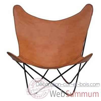 Fauteuil dkf en toile sol luna pn915t dans chaises sur d coration cuir et bois - Fauteuil papillon cuir ...