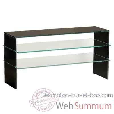 Table t l 100x40x50 marais pour cran plasma en verre de for Table de tele