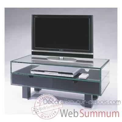 Table t l 90x40x38 marais pour cran plat en verre tremp for Table basse pour tele ecran plat