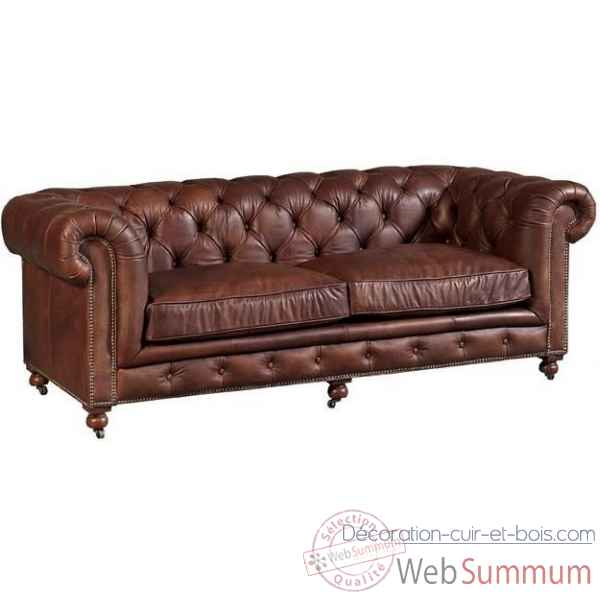 Canape kensington en cuir couleur whisky 3 places arteinmotion -div-ken0117