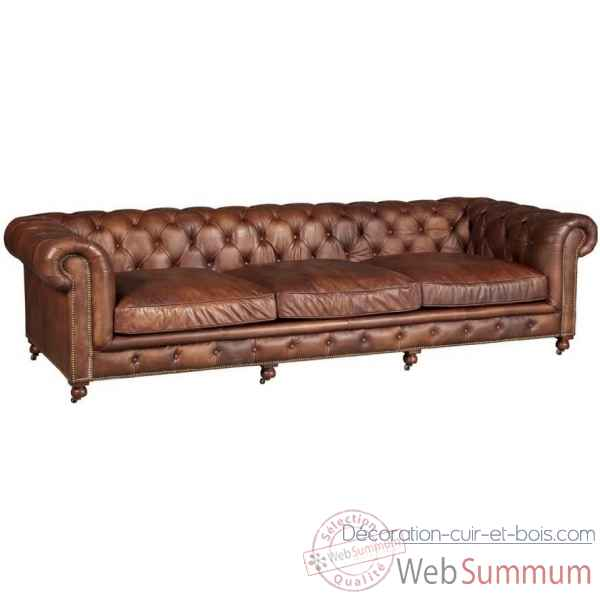 Canape kensington en cuir couleur whisky 4 places arteinmotion -div-ken0140