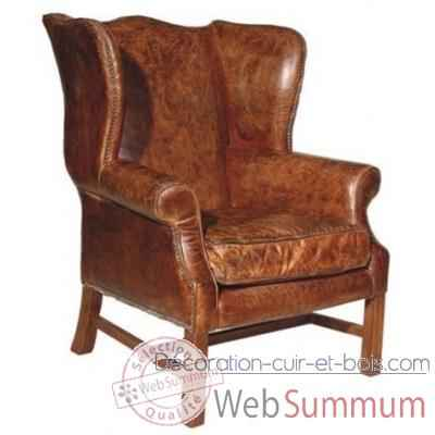 Fauteuil downing en cuir couleur cigare h 1065 x 870 x 880 Arteinmotion POL-DOW 0022