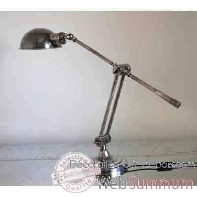 Lampe De Bureau En Laiton Plaque D Argent Avec Abat Jour Rond H 700