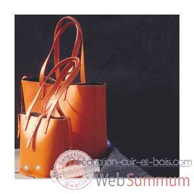 Cabas Grand Modele Midipy en cuir Orange -mid033