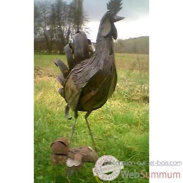 Grand Coq en Metal Recycle Terre Sauvage  -ma35
