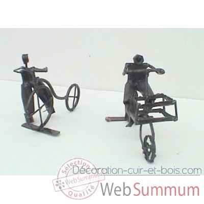 Petit Cycliste en Metal Recycle Terre Sauvage  -smcl