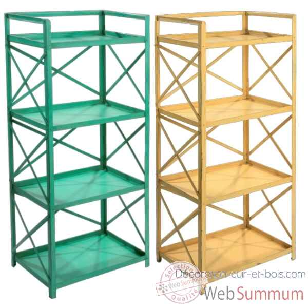 Etagere Metal 4 tables vert ancien Hindigo -JC71OLGREE