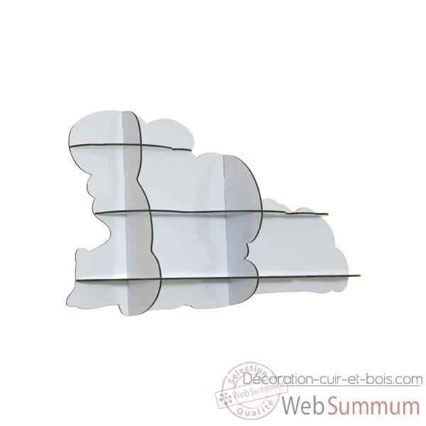 Etagère Murale Nuage Ibride Blanc Brillant Mobc 015 De Meuble Et