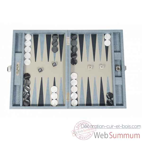 Backgammon alain cuir facon alligator medium ciel -B72L-c