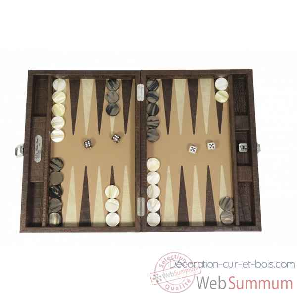 Backgammon alain cuir facon alligator medium havane -B72L-h