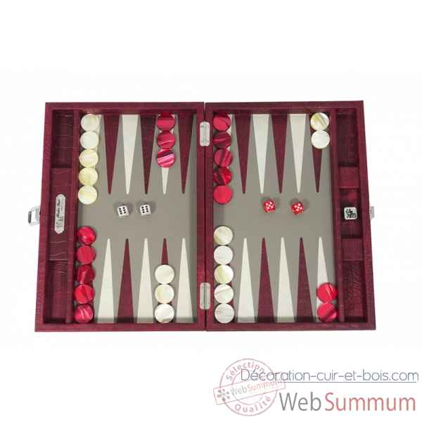 Backgammon alain cuir facon alligator medium rubis -B72L-r