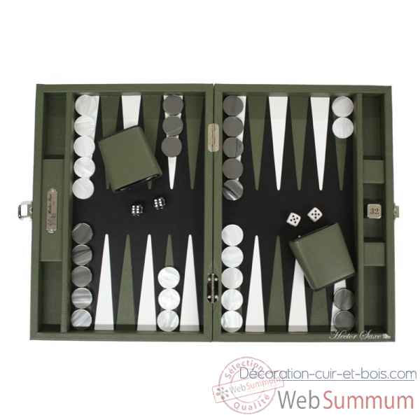 Backgammon baptiste cuir buffle medium amande -B52L-a