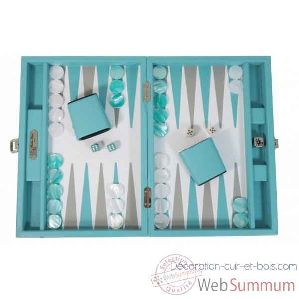 Backgammon baptiste cuir buffle medium blue beetle -B52L-bb