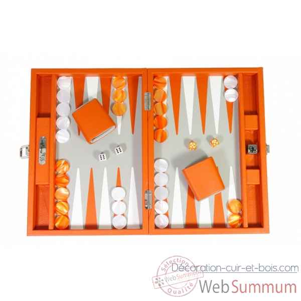 Backgammon baptiste cuir buffle medium orange -B52L-o