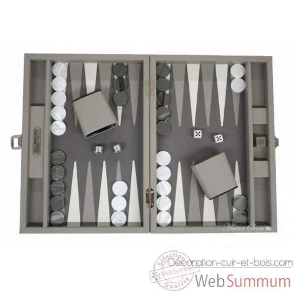 Backgammon baptiste cuir buffle medium perle -B52L-p