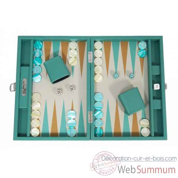 Backgammon basile toile buffle medium vert -B20L-v