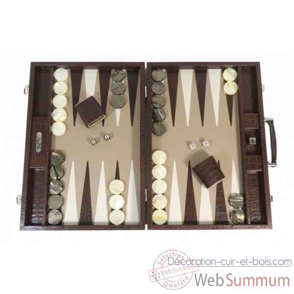 Backgammon charles cuir impression crocodile competition chocolat -B658-c
