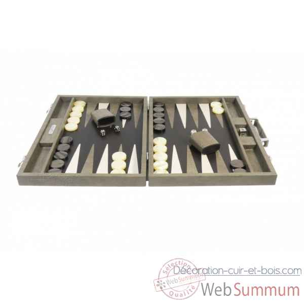 Backgammon charles cuir impression crocodile competition taupe -B658-t -3