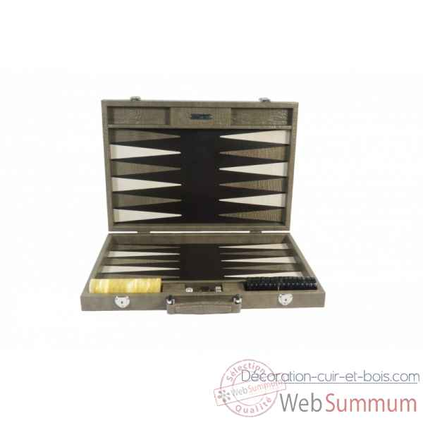 Backgammon charles cuir impression crocodile competition taupe -B658-t -5