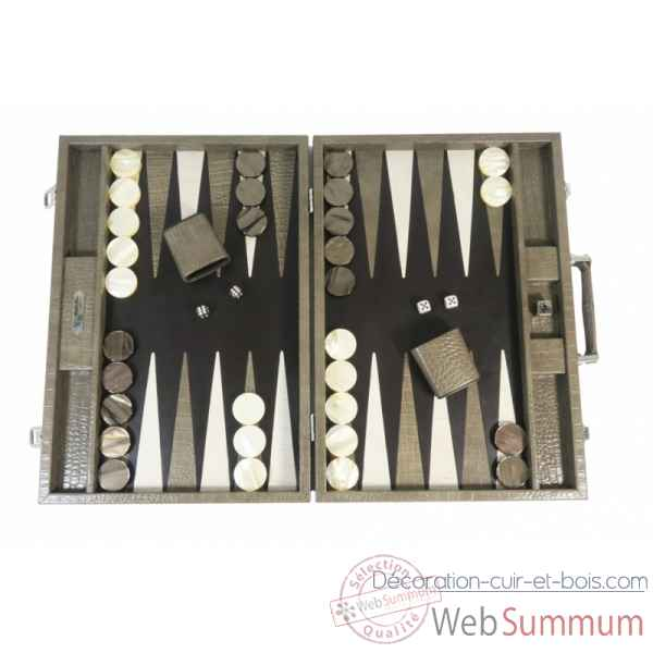 Backgammon charles cuir impression crocodile competition taupe -B658-t