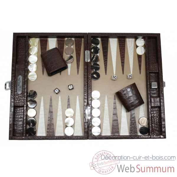 Backgammon charles cuir impression crocodile medium chocolat -B58L-c