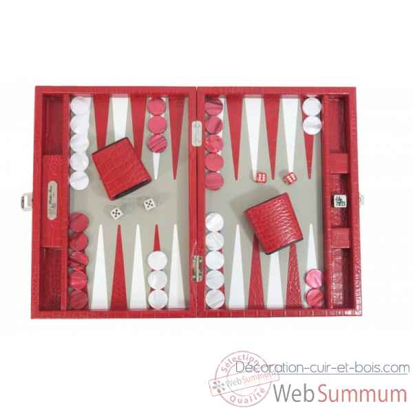 Backgammon charles cuir impression crocodile medium rouge -B58L-r