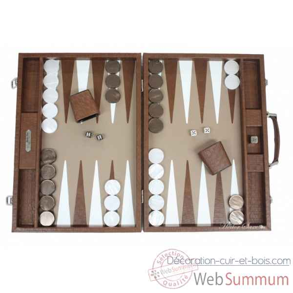 Backgammon noe cuir natte competition chocolat -B667-c