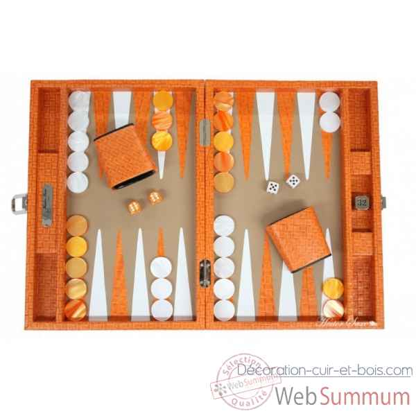 Backgammon noe cuir natte medium orange -B67L-o