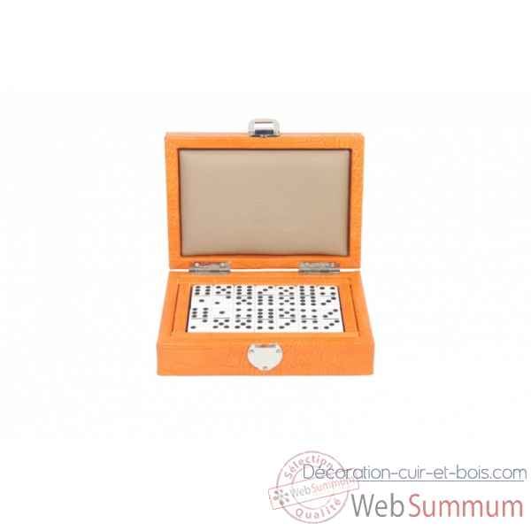 Coffret dominos cuir impression crocodile orange -DOM02-o