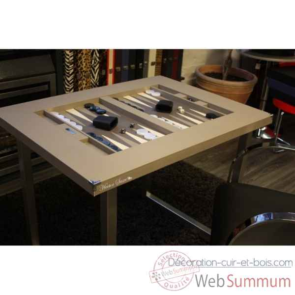 Table de backgammon cuir buffle grise -TAB1001C-g