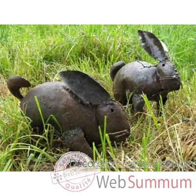 Lapin en Metal Recycle Terre Sauvage  -ma61