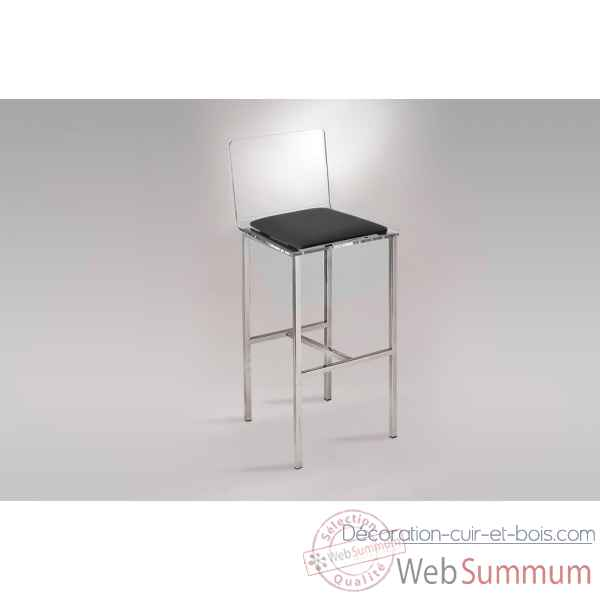 Les invisibles - tabouret de bar pmma transparent 41x41 ht97.5 assise ht71cmcm assise tissu urban MG3TB