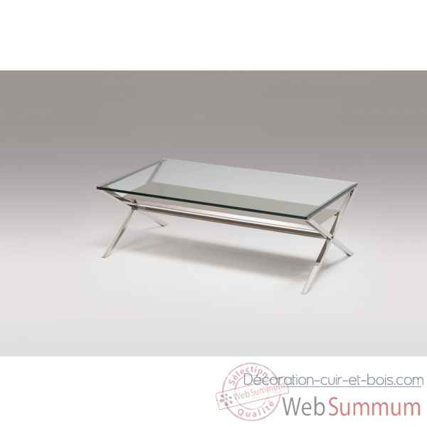 Table basse en verre & inox Marais International -XL165