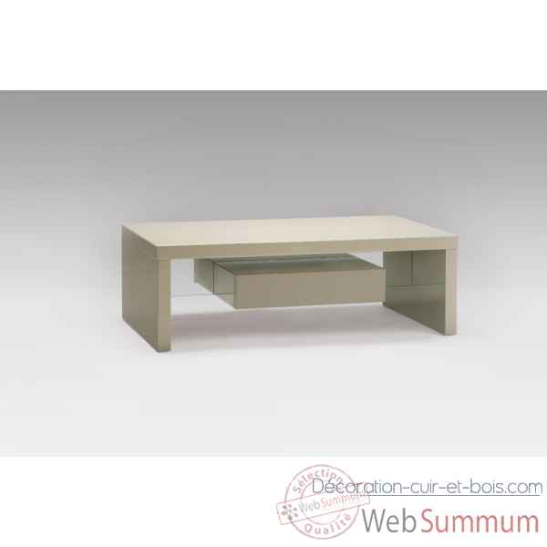 Table basse laquee taupe avec tiroirs Marais International -SYRA165LT