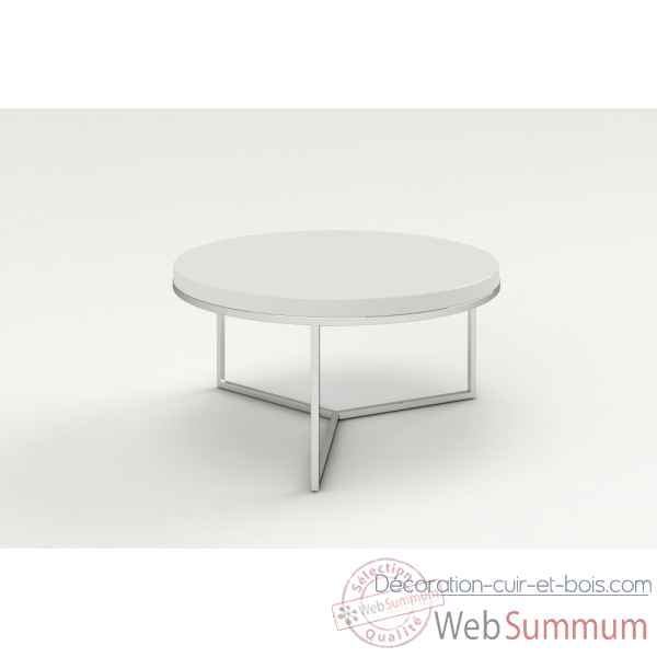 Table basse ronde laquee & inox blanche Marais International -SAT80LB