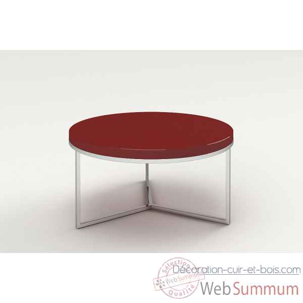 Table basse ronde laquee & inox rouge Marais International -SAT80LR