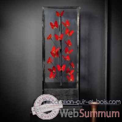 Papillons Rouges 18 Sous Globe Carré Objet De Curiosité In068