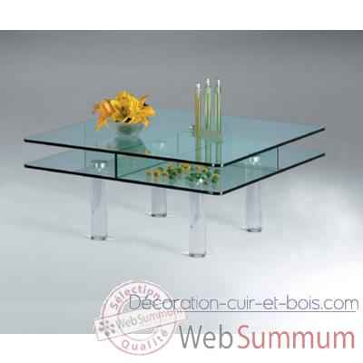 Table basse carree Marais en verre trempe -CT80