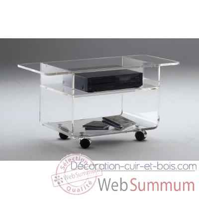 Table tele 80x39.6x42.5 Marais lecteur DVD en PMMA -MTV48